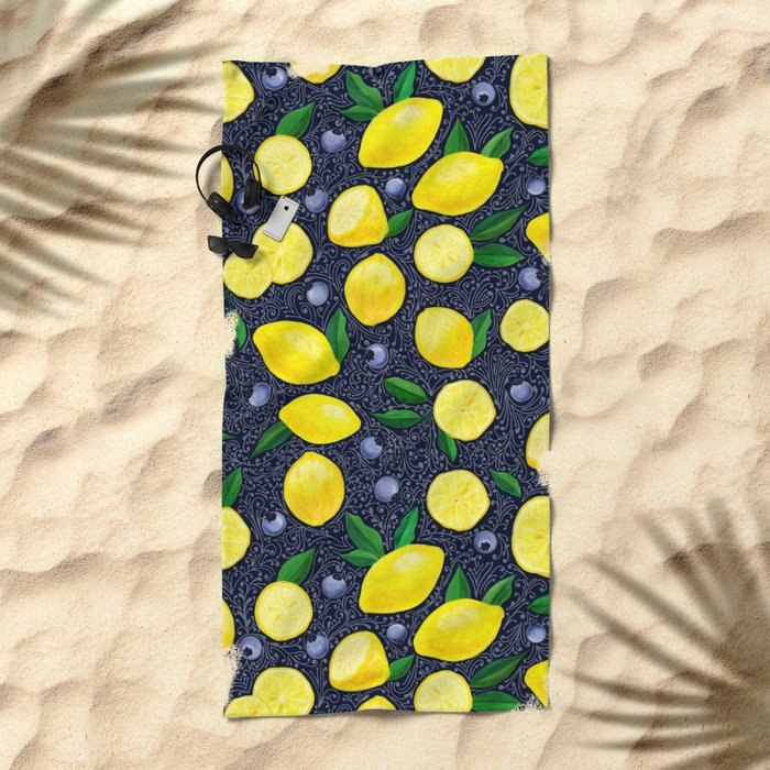 Lemon Blueberry Tart Beach Towel