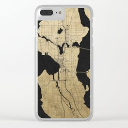 Seattle Black and Gold Street Map Clear iPhone Case