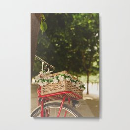 Spring red bike Metal Print