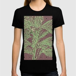 Retro Tropical Palm Trees and Geometric Square Pattern in Modern Pink and Green T-shirt