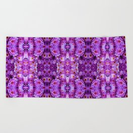 Violet Purple White Flower Pattern Beach Towel