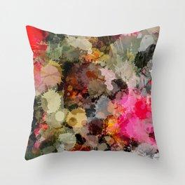 Paint Splatter Bouqet  Throw Pillow