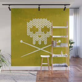 Knitted Skull (White on Yellow) Wall Mural