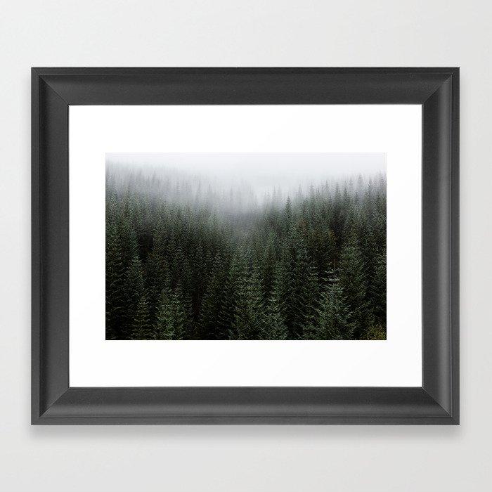 Dizzying Misty Forest Framed Art Print