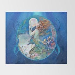 Sensual Art Deco Pearl Mermaid Throw Blanket