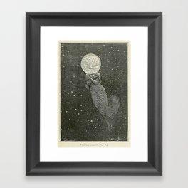 Antique Moon Woman Framed Art Print