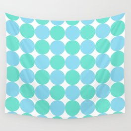 Turquoise and Pastel Blue Dot Pattern Wall Tapestry