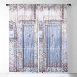 Old Blue Italian Door Sheer Curtain