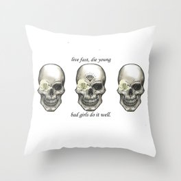 3 Skull Live Fast Die Young Throw Pillow