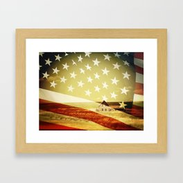 House And Flag Double Exposure Framed Art Print