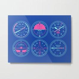 Aircraft Flight Instruments - 6 Pack Blue Metal Print