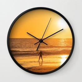 Hula hoop woman dancing at the beach during sunset, California Wall Clock