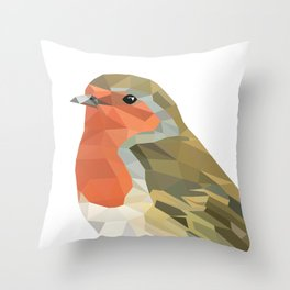 Geometric Robin artwork Bird Throw Pillow