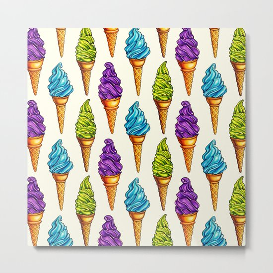 Ice Cream Blue Purple Green Metal Print