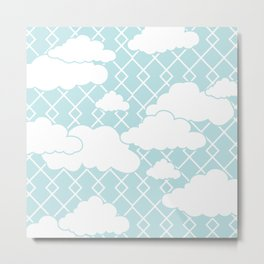 Cute Clouds in Diamond Pattern Design Metal Print