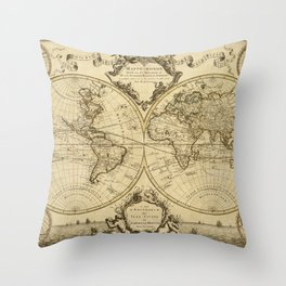 1720 Old World Map Historic Map Antique Style World Map Guillaume de L'Isle mappe monde Wall Map Throw Pillow