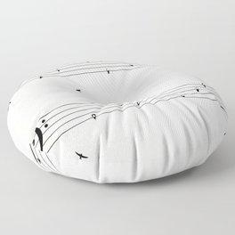Music Score with Birds Floor Pillow