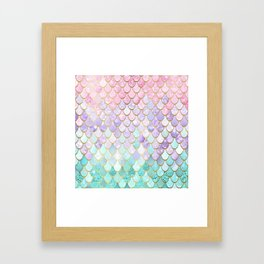 Iridescent Mermaid Pastel and Gold Framed Art Print