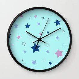 Little blue stars Wall Clock