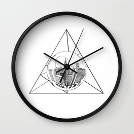 GRAPHIC Geometric. Shape Gray New York in a Bottle Wall Clock
