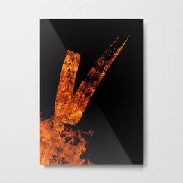Burning on Fire Letter V Metal Print