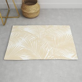 Modern tropical elegant ivory palm tree pattern Rug
