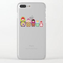 Kawaii Russian dolls Clear iPhone Case