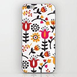 Retro Scandinavian Flowers Pattern iPhone Skin