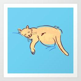 Sleepy Cat Position Art Print