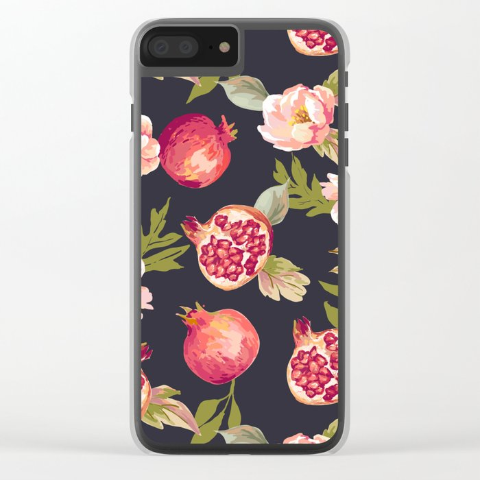 Pomegranate patterns - floral roses fruit nature elegant pattern Clear iPhone Case