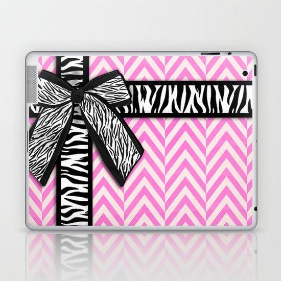 Girly zebra ribbon & bow, pink chevron stripes Laptop & iPad Skin