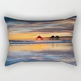 Sunset Reflections Huntington Beach Pier  1-8-15 Rectangular Pillow