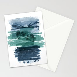 Blue and green landscape Stationery Cards
