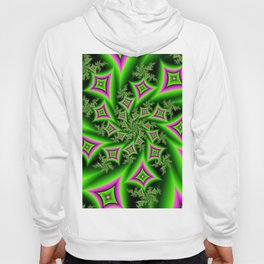Green And Pink Shapes Fractal Hoody