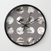 moon phases Wall Clocks featuring Moon phases by Dreamy Me