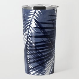 Navy blue palm tree leaf print Travel Mug