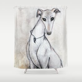 The Greyhound Wearing His Thorn Shower Curtain