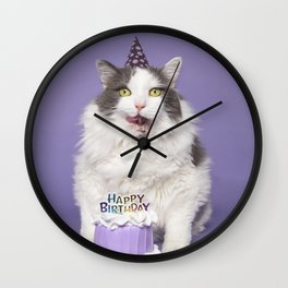 Happy Birthday Fat Cat In Party Hat With Cake Wall Clock