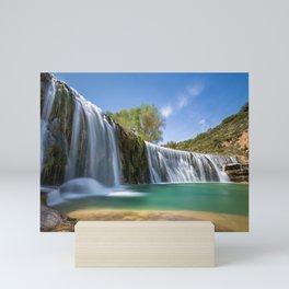 Salto de Bierge beautiful waterfall lake mountain landscape Aragon Spain Alcanadre River Mini Art Print