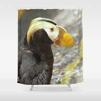 puffin Shower Curtains featuring Puffin... by Nature In Art...