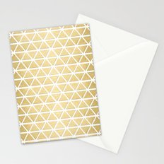 White and Gold Geometric Pattern 3 Stationery Cards