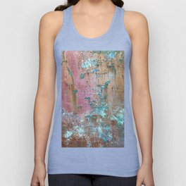Abstract turquoise flowers on colorful rusty background Unisex Tank Top