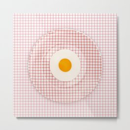 Egg on graph plate on graph paper Metal Print