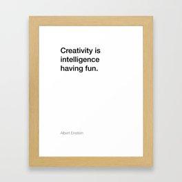 Einstein quote about creativity [White Edition] Framed Art Print