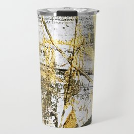 Armor [11]: a bold, elegant abstract mixed media piece in gold pink black and white Travel Mug