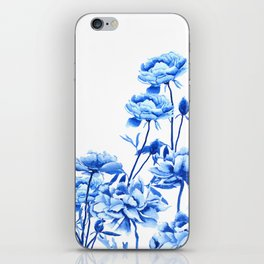blue peonies iPhone Skin