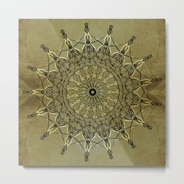 Black & Golden-Yellow Metallic Mandala on Faux Gold Foil Background (part of set) Metal Print