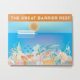 Great Barrier Reef, Australia - Skyline Illustration by Loose Petals Metal Print
