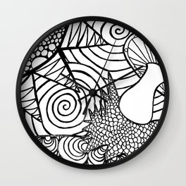 Funky Abstract Muhroom Zendoodle Scene Wall Clock