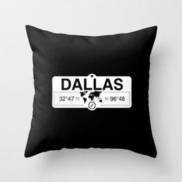 Dallas Texas Map GPS Coordinates Artwork with Compass Throw Pillow